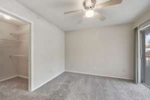 large room with ceiling fan